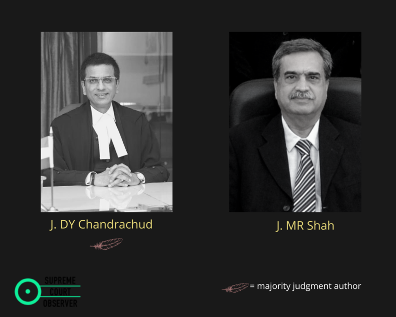 Images of Justice Chandrachud and Justice MR Shah with a quill under Chandrachud's image indicating that he wrote the judgment.